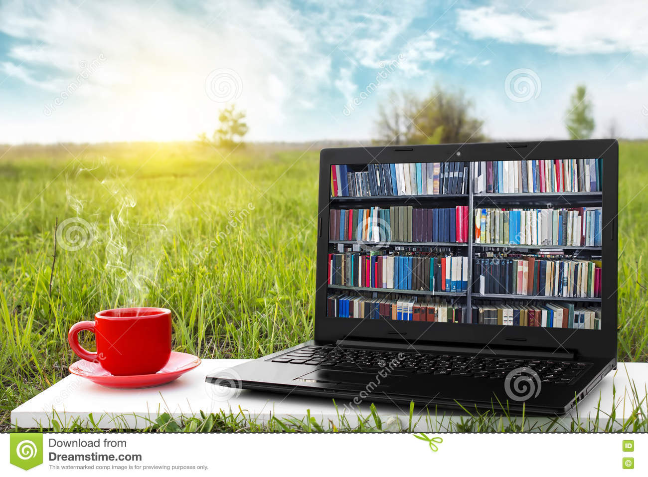 Laptop And Cup Of Hot Coffee On The Background Picturesque Nature Outdoor Office E Book Library Concept Internet Books Store Stock Photo Image Of College Banner 71276234