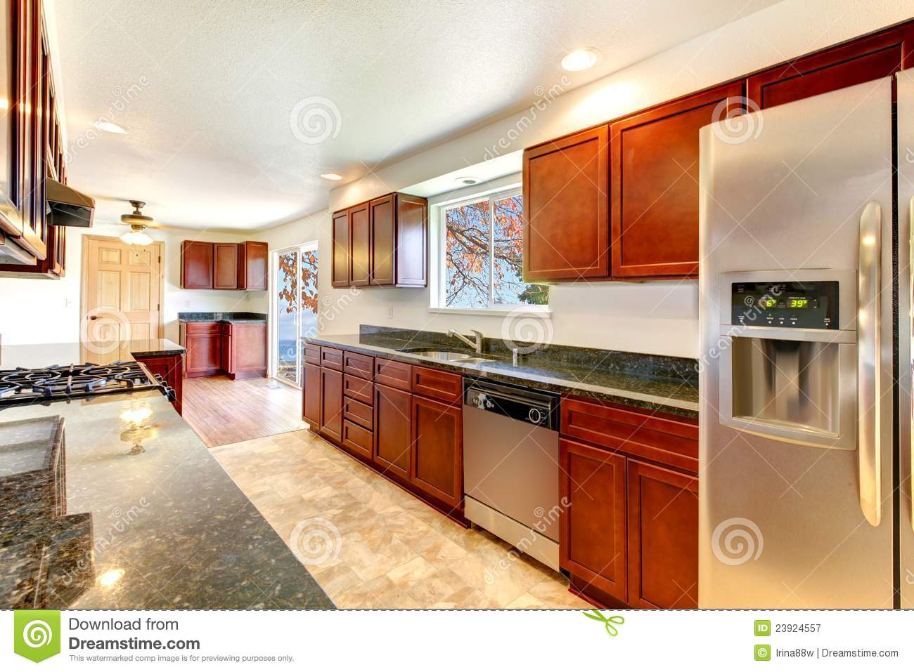 Bright Kitchen Cabinets Large Bright Kitchen With Dark Cherry Cabinets Royalty