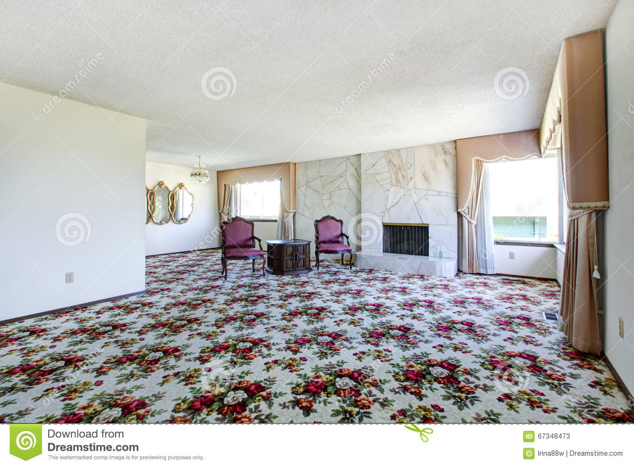 Large Empty Living Room With Floral Patterned Carpet, Fire