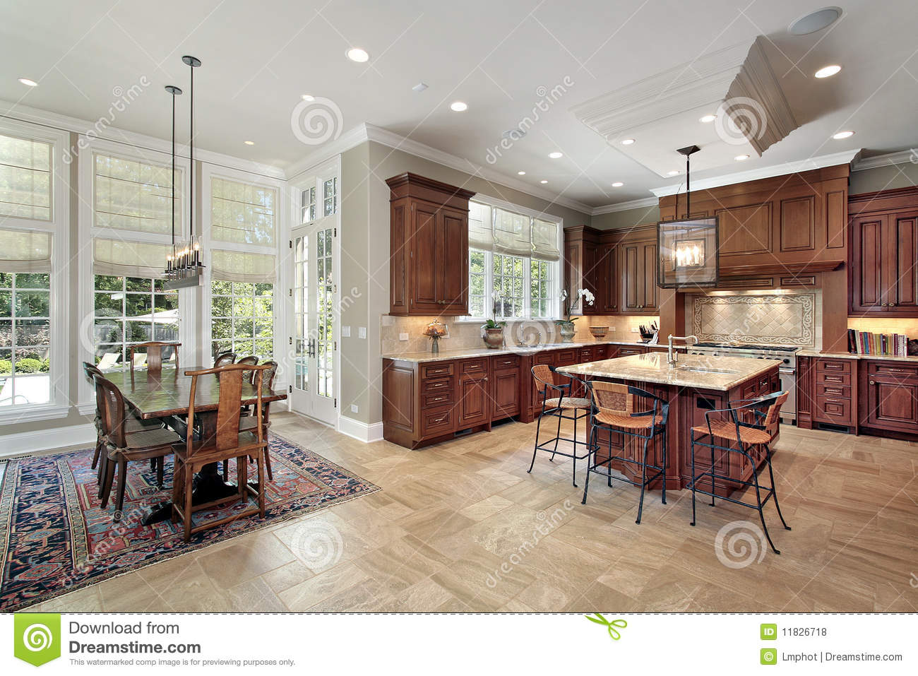 Design Decorate New House Large Kitchen With Eating Area Royalty Free Stock Photos