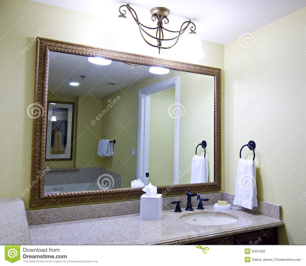 Tv In Bathroom Mirror Price Large Mirror Above Sink Stock Photography Image 6431592