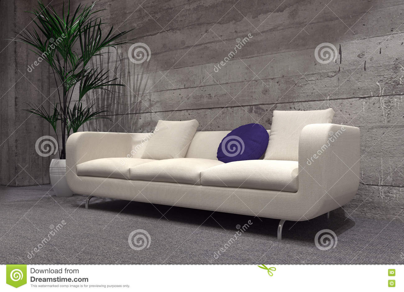 Brick Meubles Divan Lit Large Modern Sofa In Front Of A Cement Brick Wall Stock