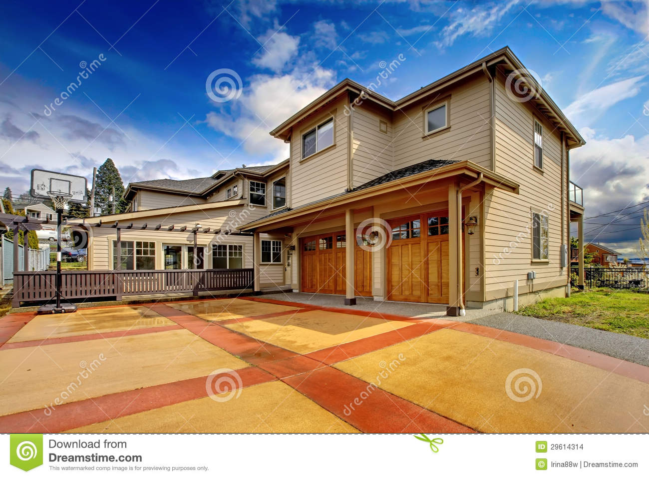 large luxury home exterior orange red driveway stock lubbock large luxury homes