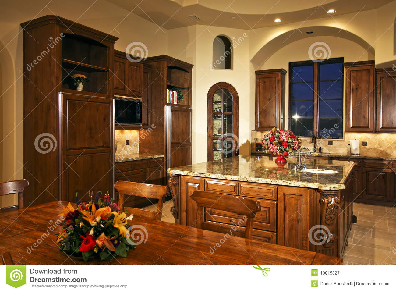 Decorate Kitchen Island Large New Mansion Home Kitchen Royalty Free Stock