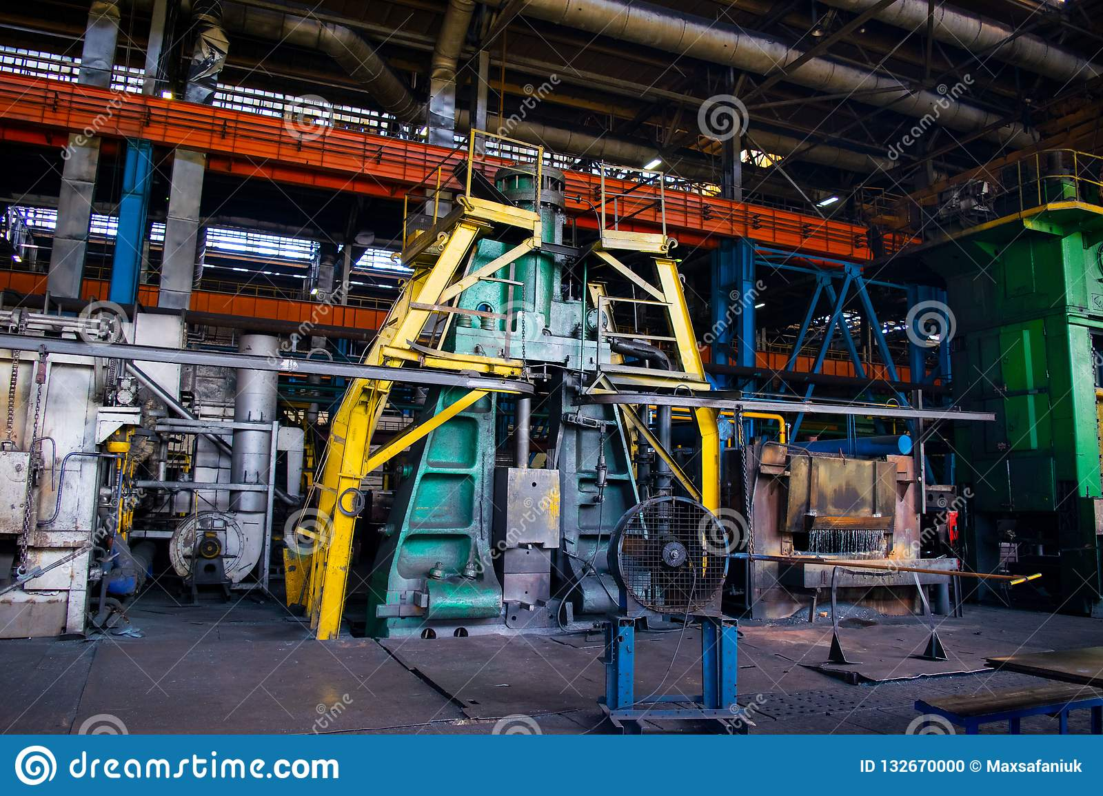 Industrial Forging Large Pressing Machine In The Industrial Shop Forging Plant Stock