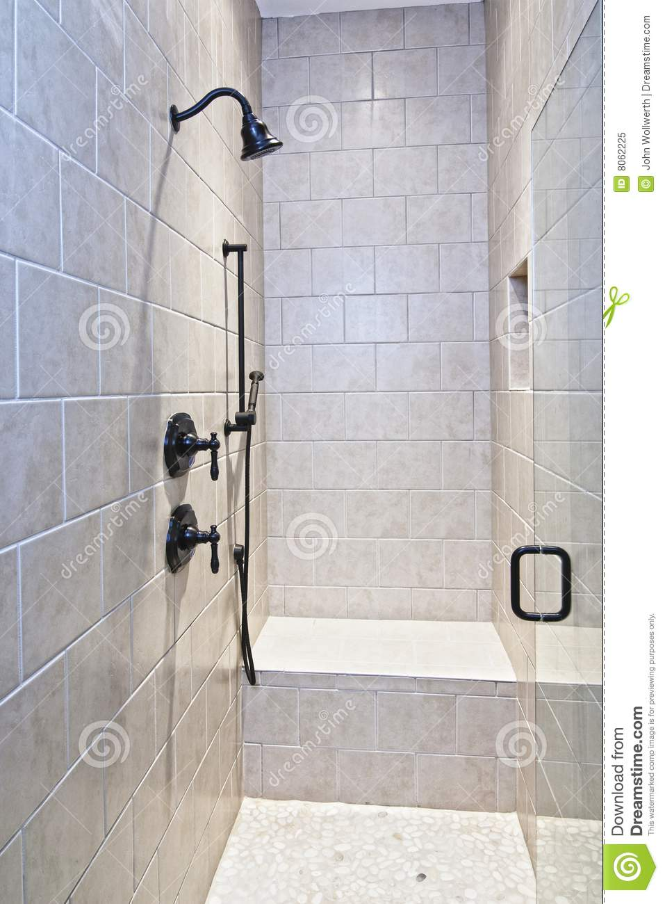 Badsanierung Ohne Fliesen Large Tile And Stone Shower Royalty Free Stock Photo