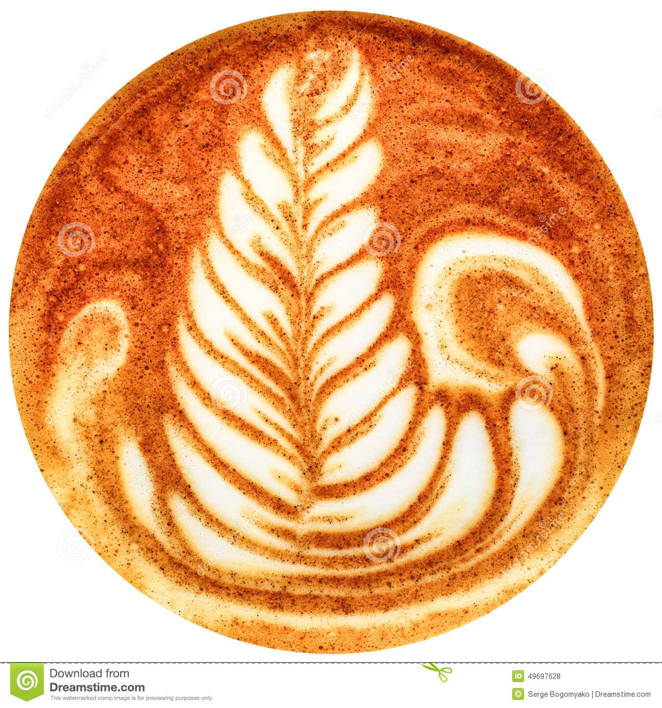 Coffee Latte Art Jogja Latte Art Coffee Isolated In White Background Stock Photo