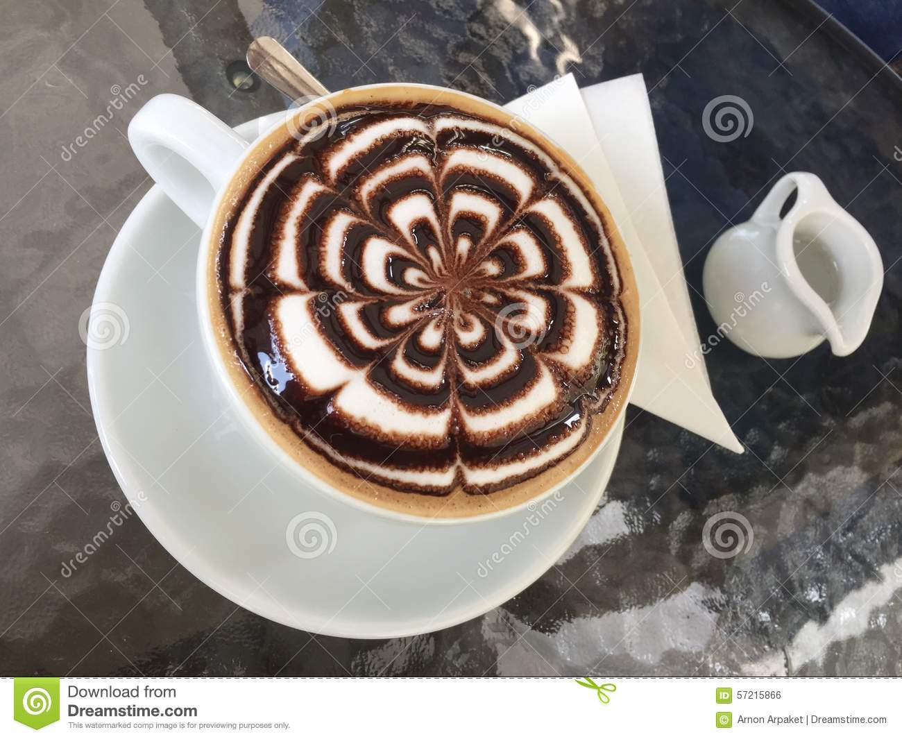 Coffee Art With Chocolate Syrup Latte Art With Syrup Menu Stock Photo Image 57215866