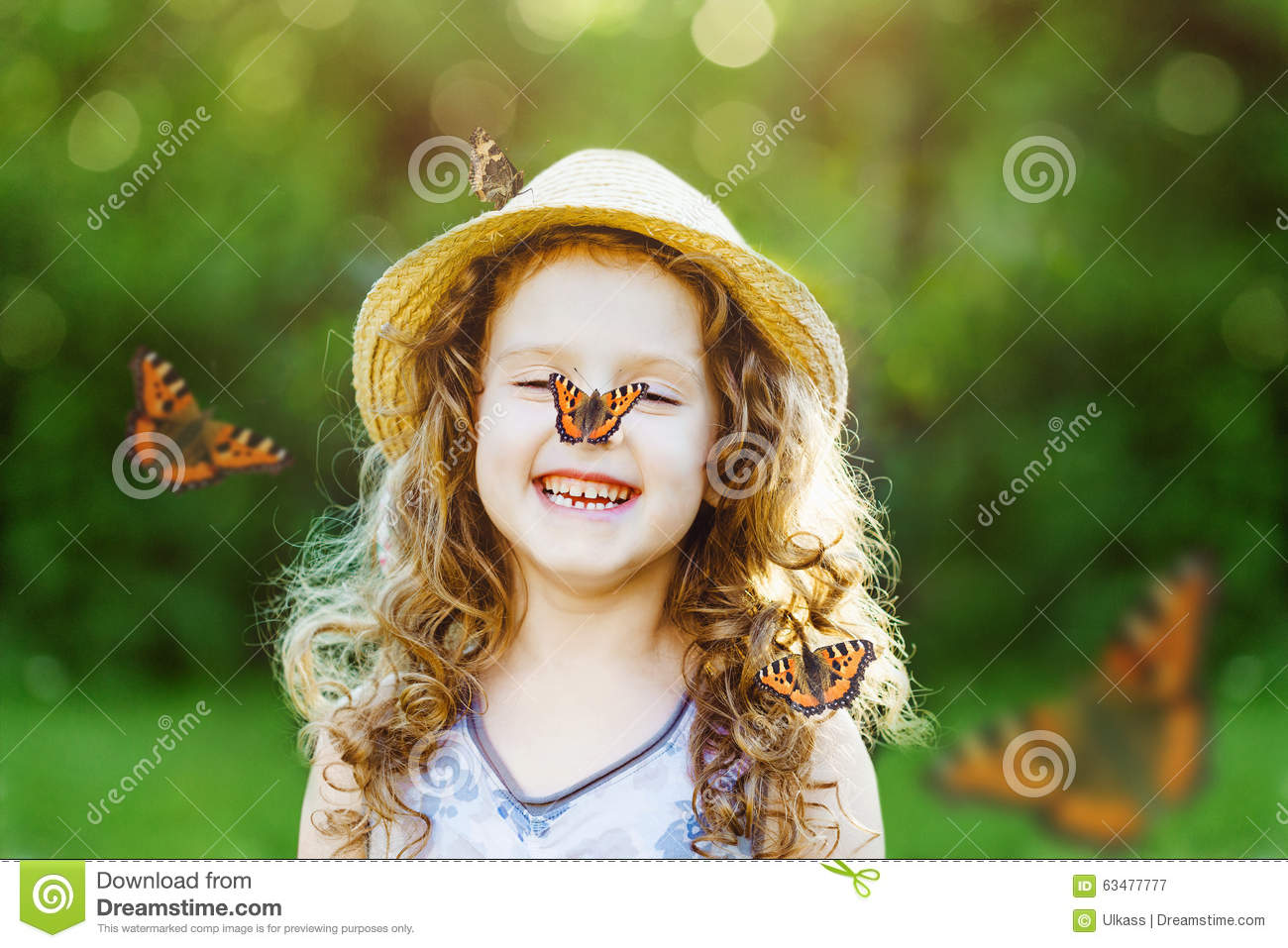 Cute Little Girl Playing Bubble Wallpaper Laughing Little Girl With A Butterfly On His Nose Stock