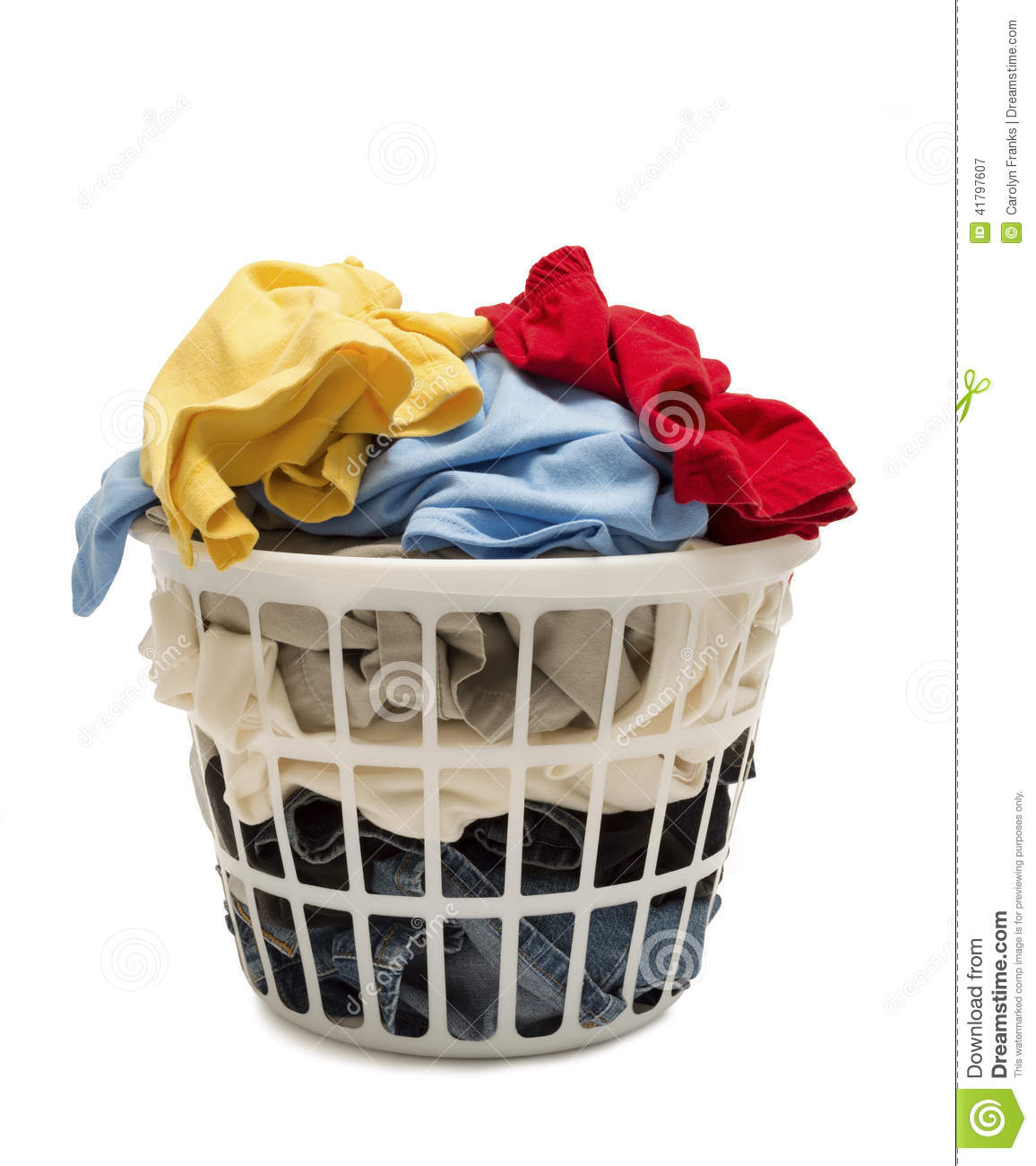 Dirty Laundry Baskets Full Laundry Basket With Dirty Clothes Stock Image