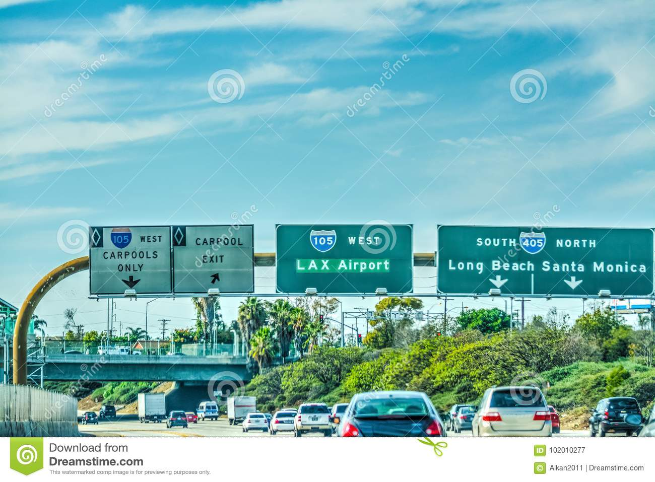 Klax Dresden Lax Exit Sign On 105 Freeway Stock Image Image Of South