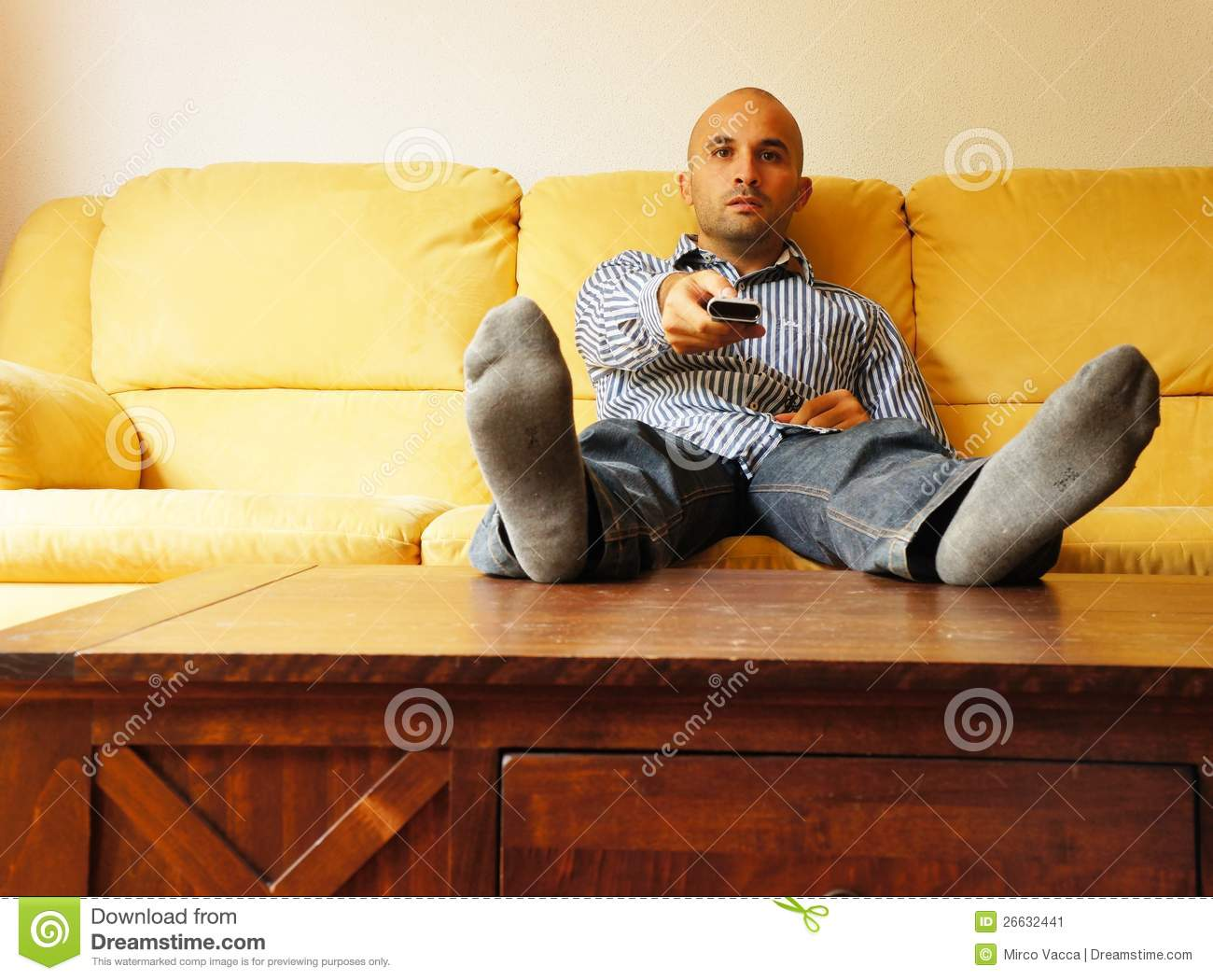 3 Person Couch Lazy Man Stock Image. Image Of Person, Laziness, Resting