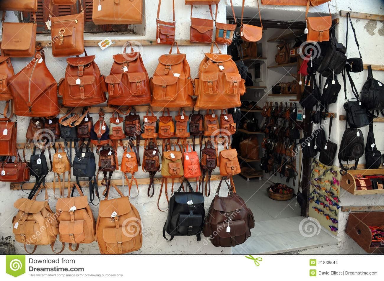 Leather Shop Leather Bag Shop Stock Photo Image Of Mediterranean 21838544
