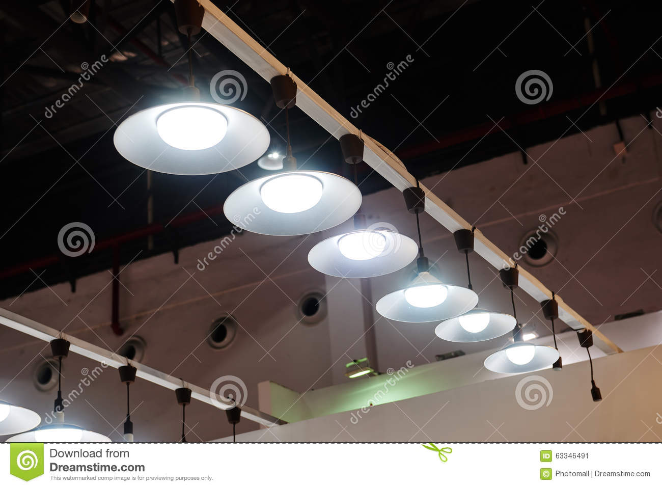 Led Light Shop Led Hanging Lighting In Office Stock Image Image Of Business