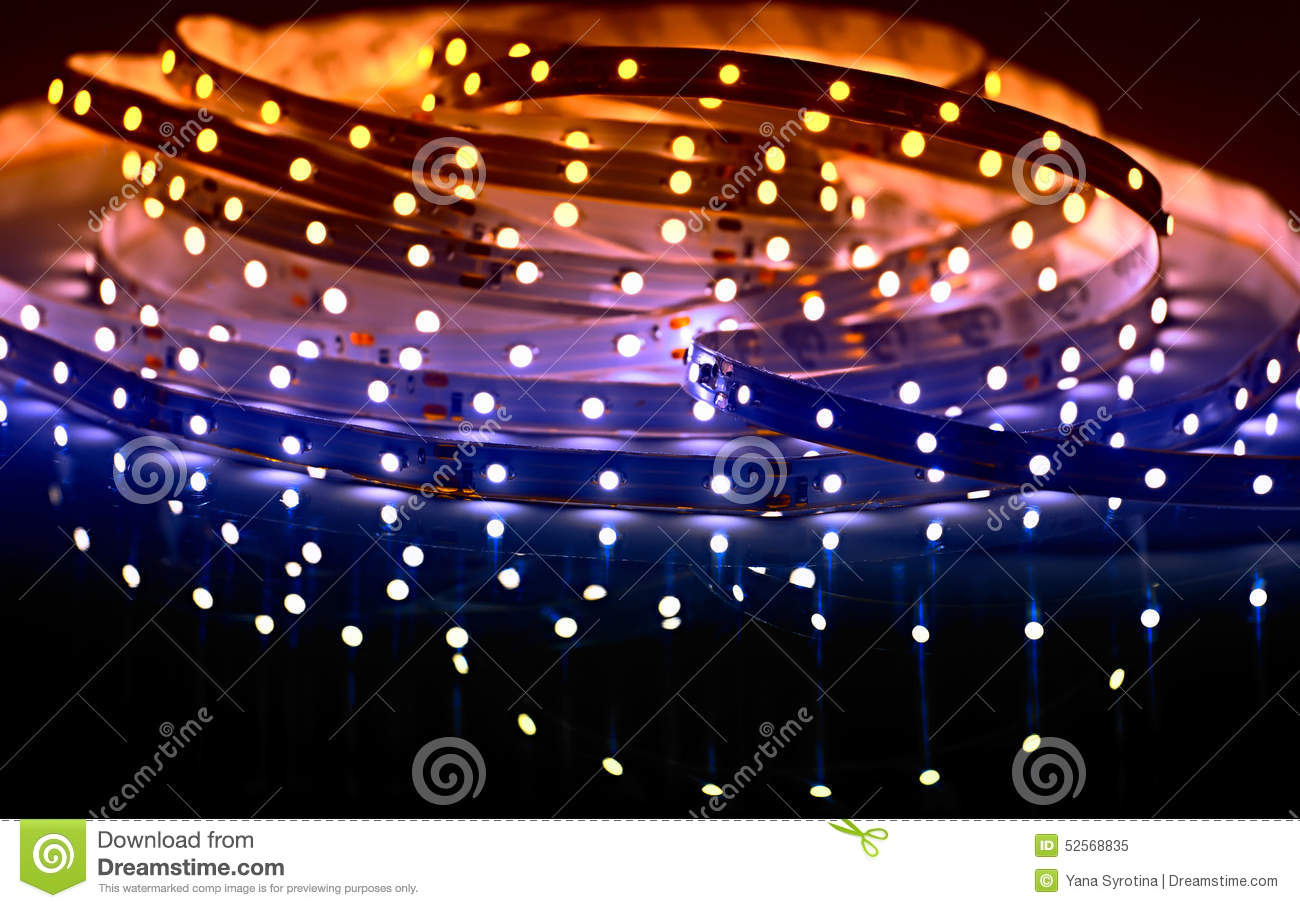 Diode Lighting Led Shining Diode Lights Strip Stock Image Image Of Bulbs