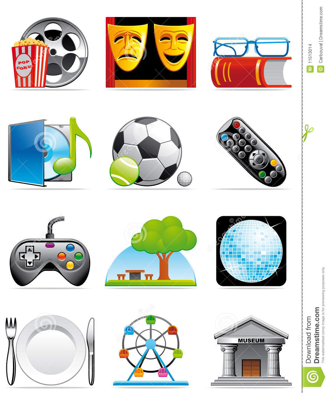 Tiempo Libre Leisure Time Icons Stock Illustration Illustration Of