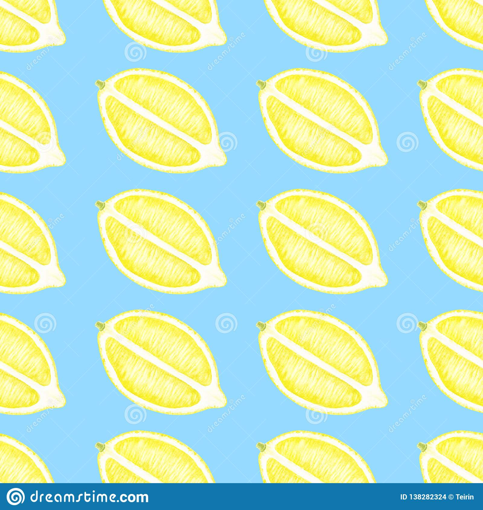 Lemon Green Curtains Lemon Slices Seamless Pattern Watercolor Citrus Illustration