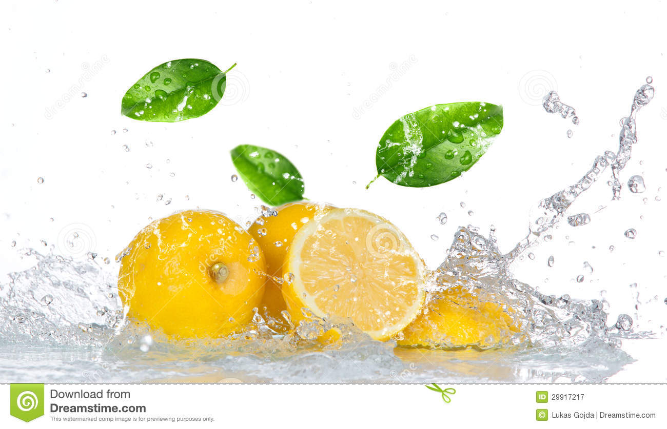 Spritzschutz Küche Zitrone Lemon With Water Splash Royalty Free Stock Photography