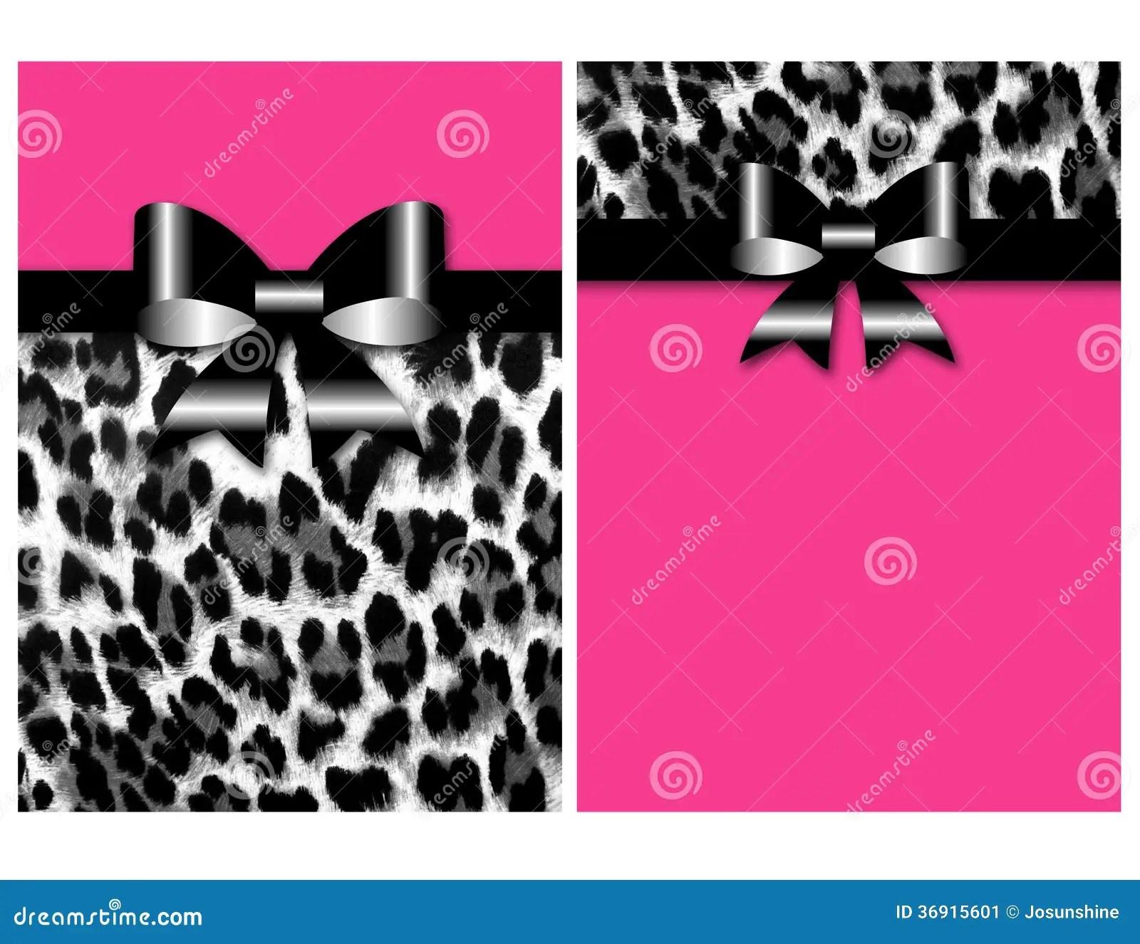 Pink Animal Print Wallpaper Leopard Invitation Sweet Sixteen Bow Stock Image Image