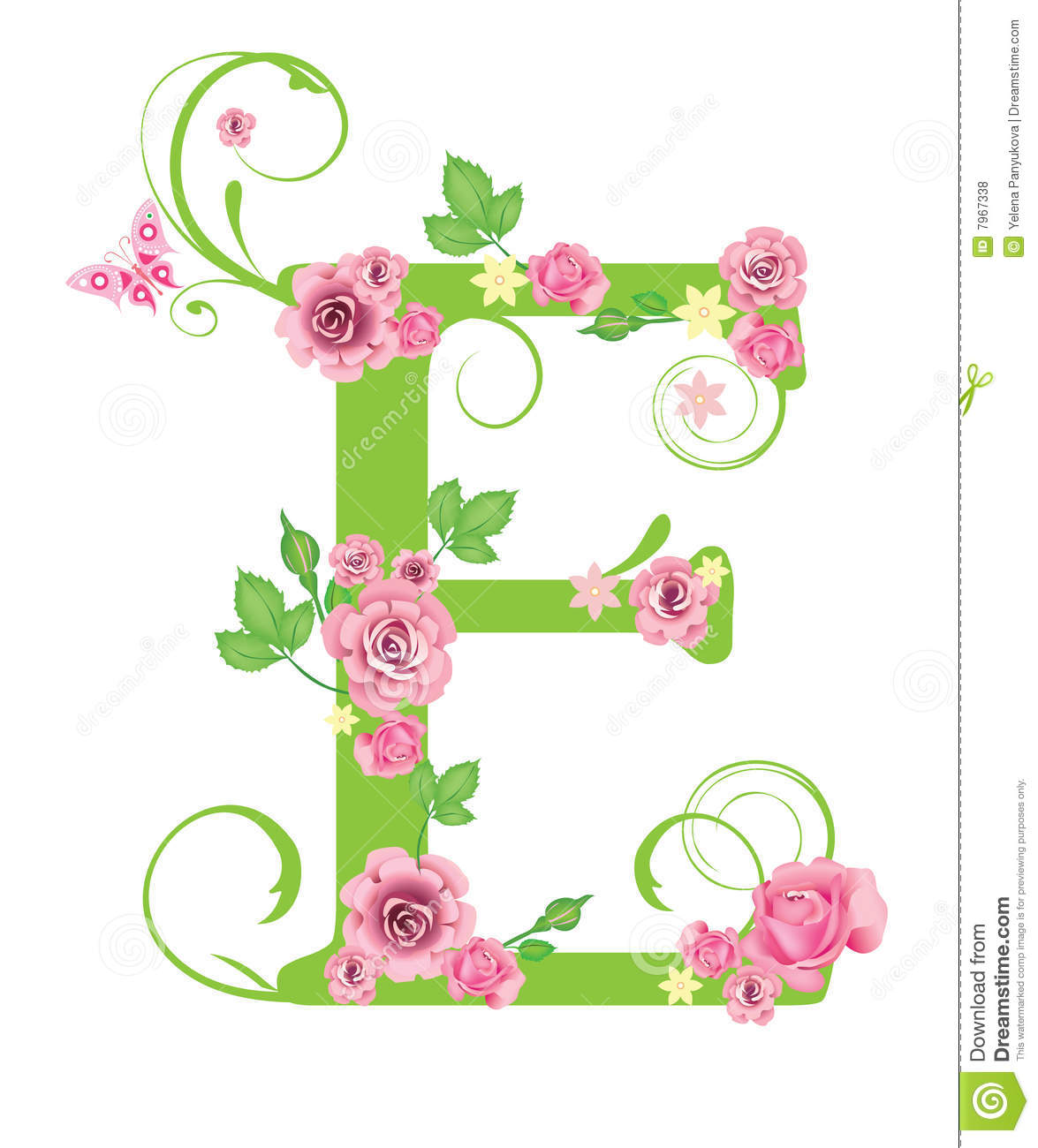 Plante En 6 Lettres Letter E With Roses Stock Vector Illustration Of Plant