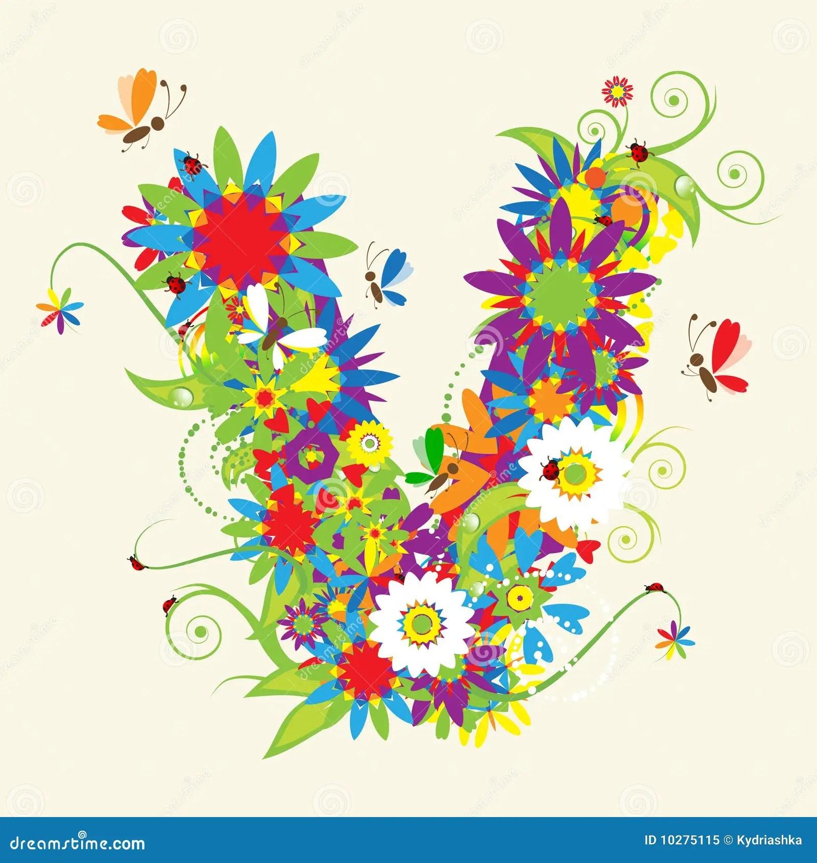 Printable Letters V Letter V For Kids Letter V Floral Design Royalty Free Stock Photo Image