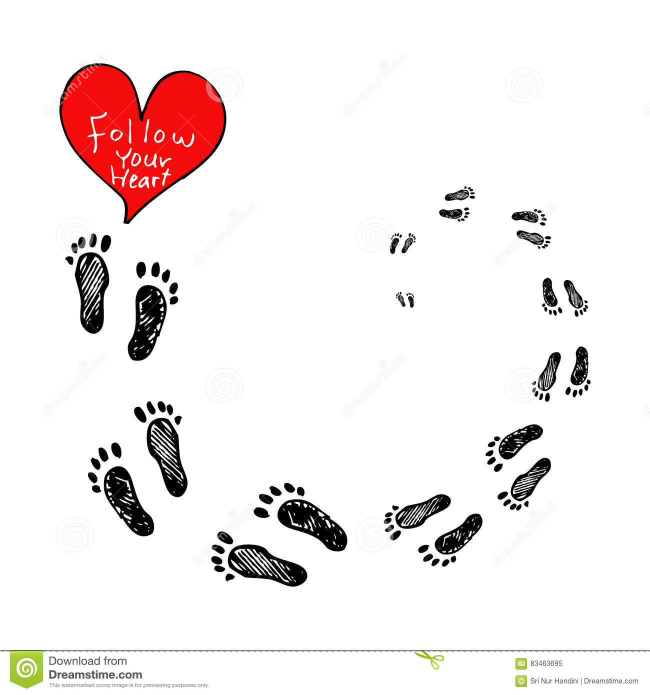 Follow Your Heart Lettering Follow Your Heart With Footprints Stock Vector