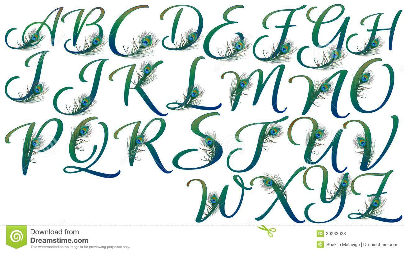 What Is The Business Letter Format 4hb Letters Decorated With Peacock Feathers Stock Illustration
