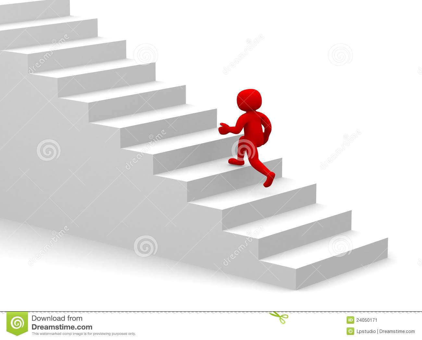 Leute 3d Steigen Das Treppenhaus Treppe Stock Abbildung