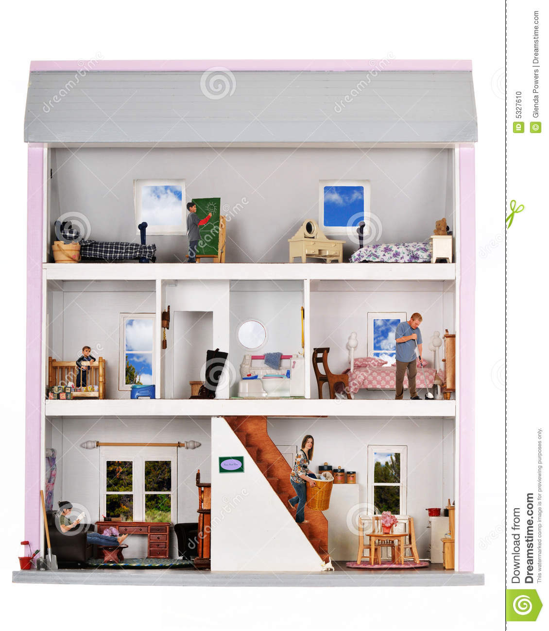 Playpen Baby Playing Life In A Doll House Stock Photo Image Of Drawing