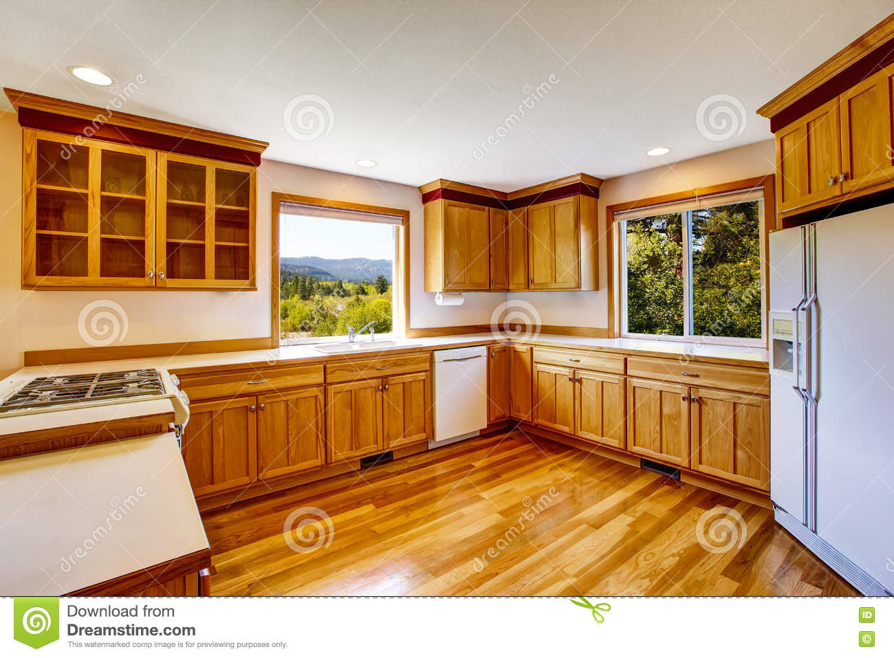 Brown Kitchen Cabinets With White Appliances Light Brown Kitchen Cabinets White Appliances And