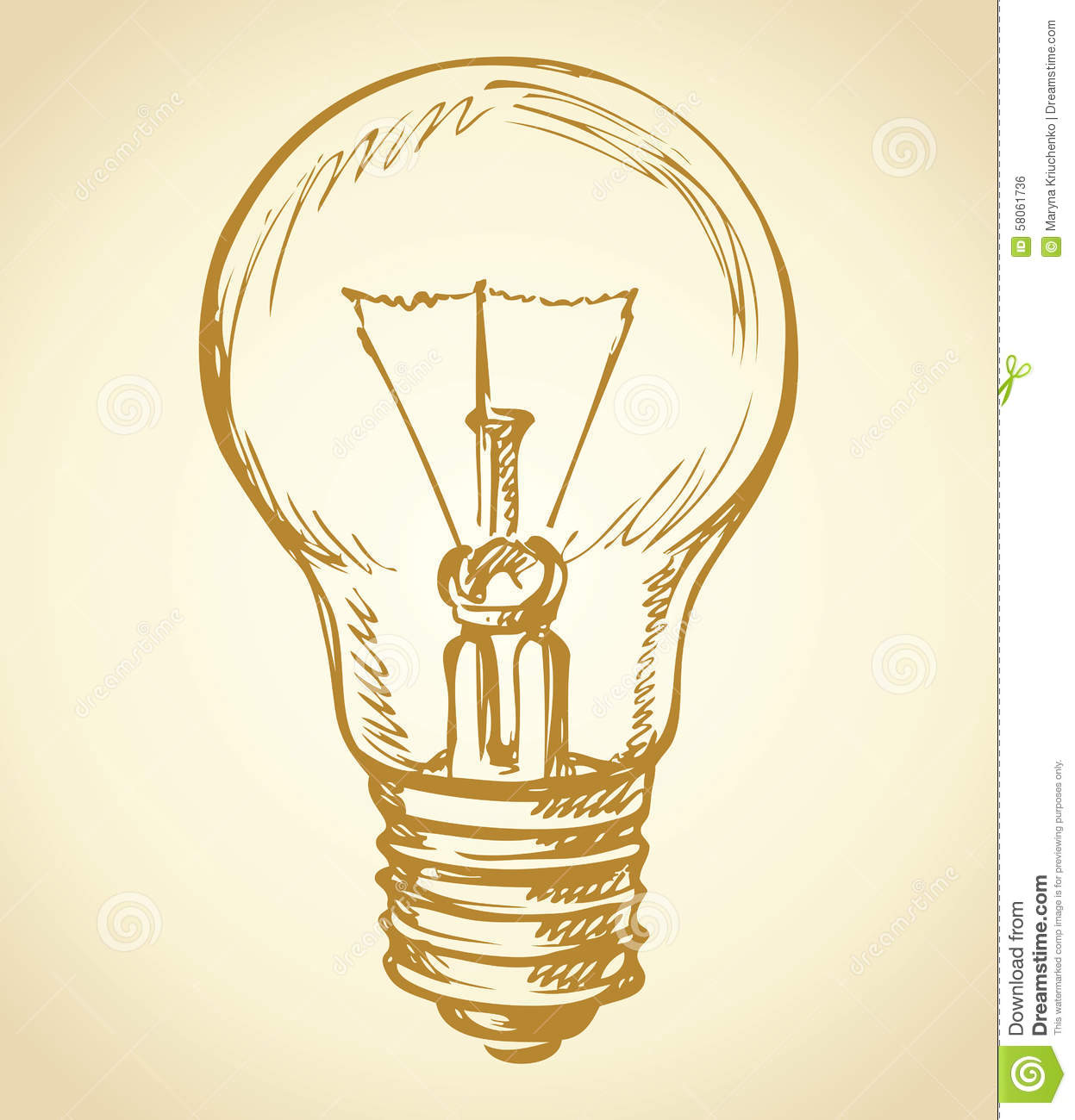 Incandescent Lamp Symbol Light Bulb Vector Drawing Stock Vector Image 58061736