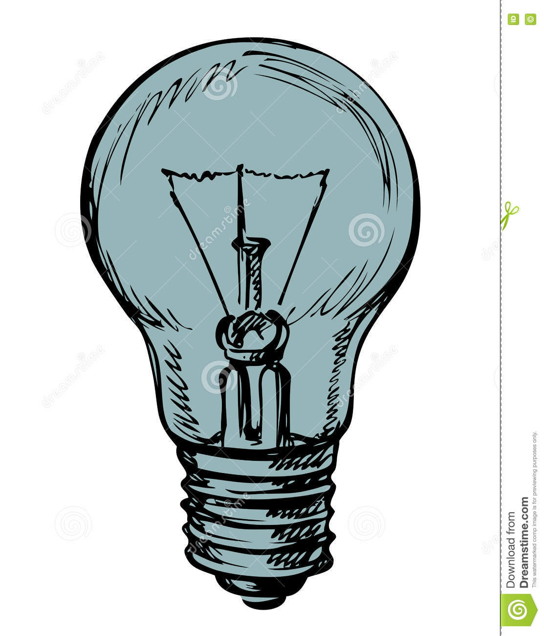 Incandescent Lamp Symbol Light Bulb Vector Drawing Stock Vector Illustration Of