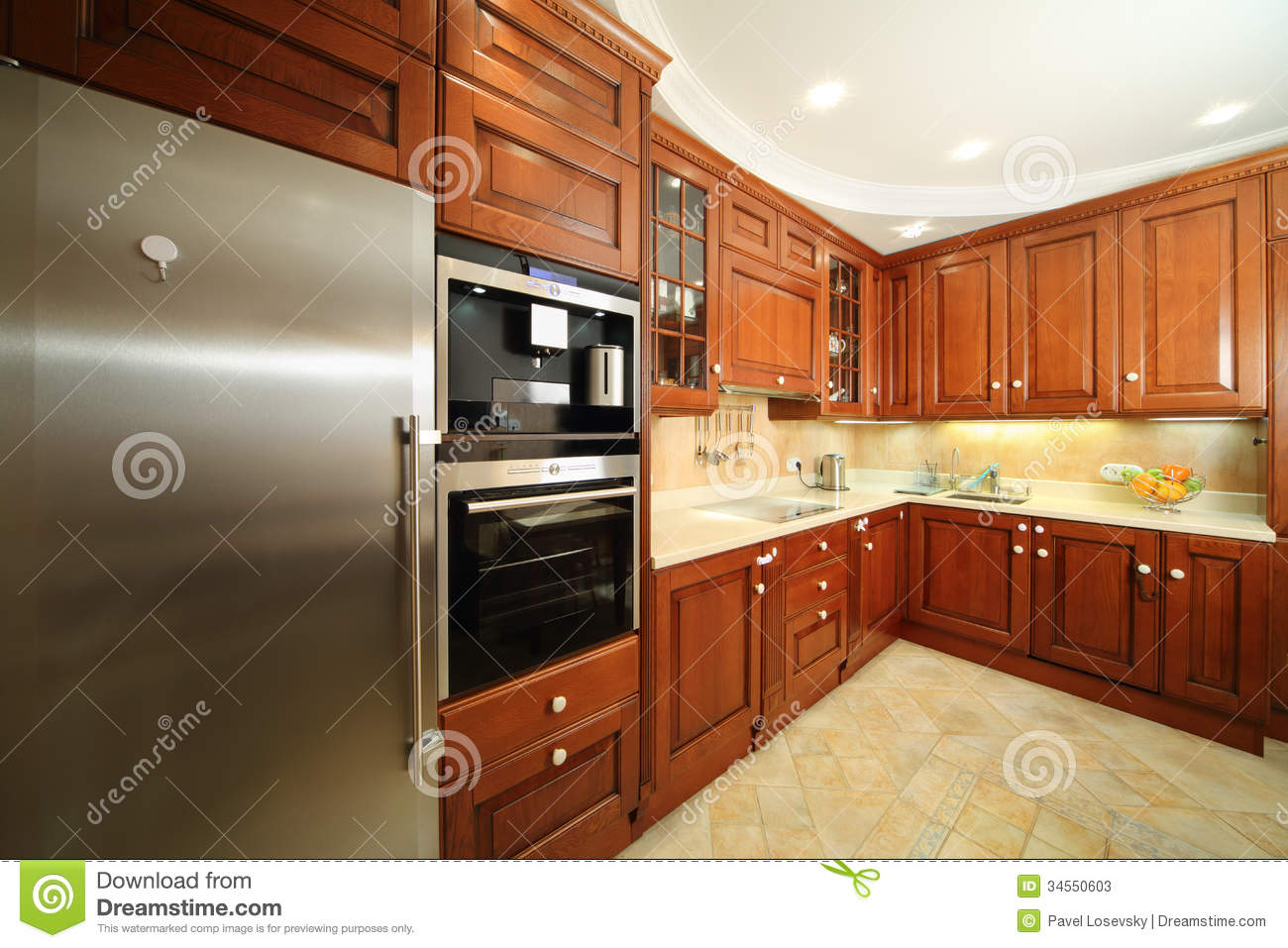 stock photos light clean kitchen wooden furniture integrated oven fridge image kitchen wooden chairs Light clean kitchen with wooden furniture