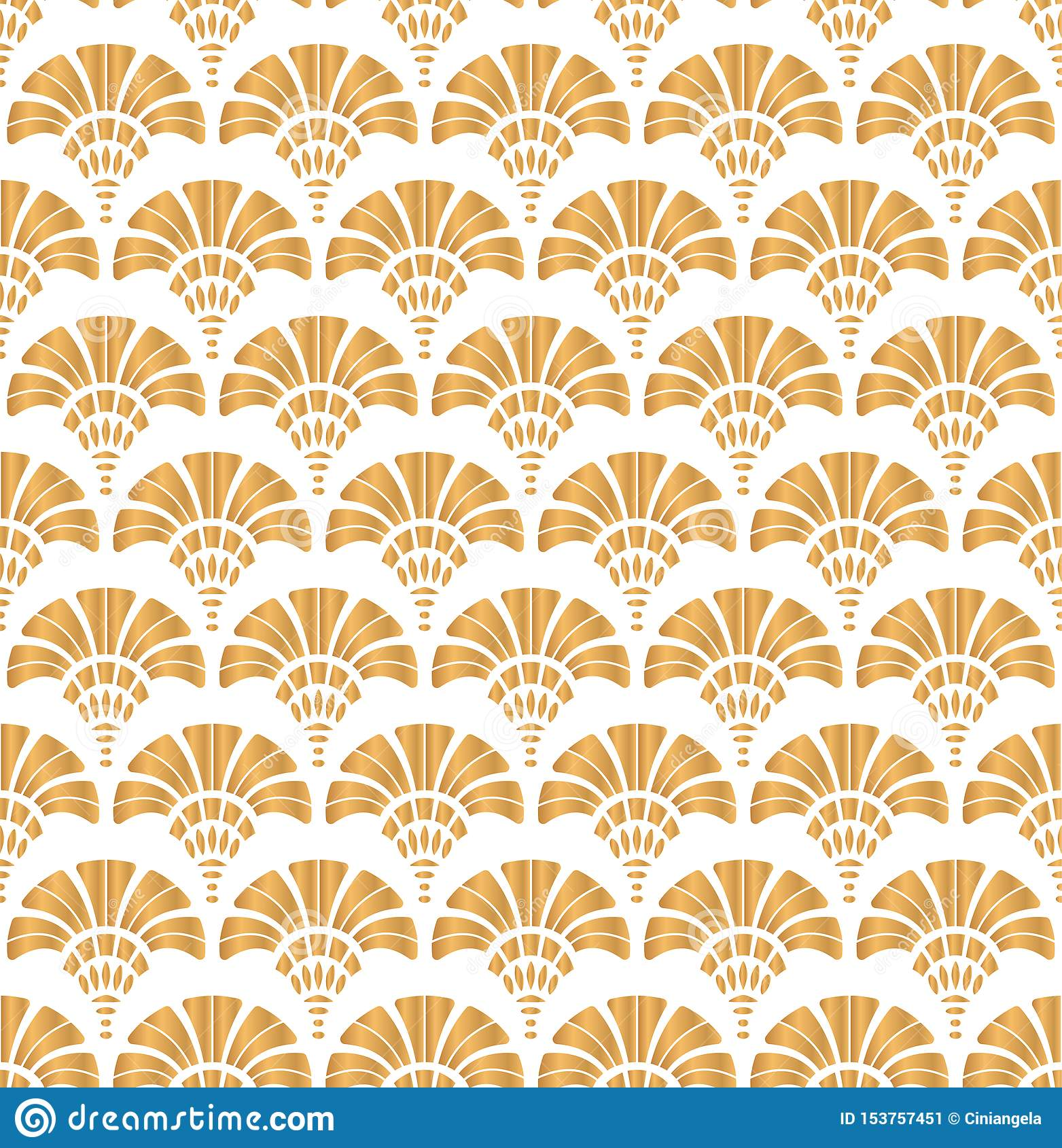 Art Deco Style & Light Light Geometric Gatsby Art Deco Gold Pattern Design On White