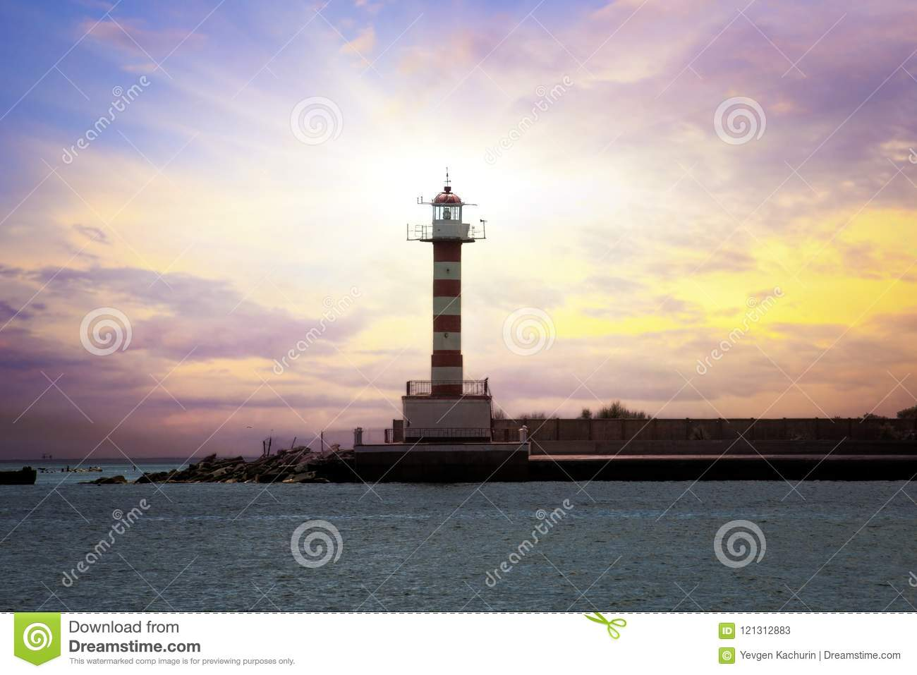 Lighthouse Background A Lighthouse In The Background Stock Image Image Of Background
