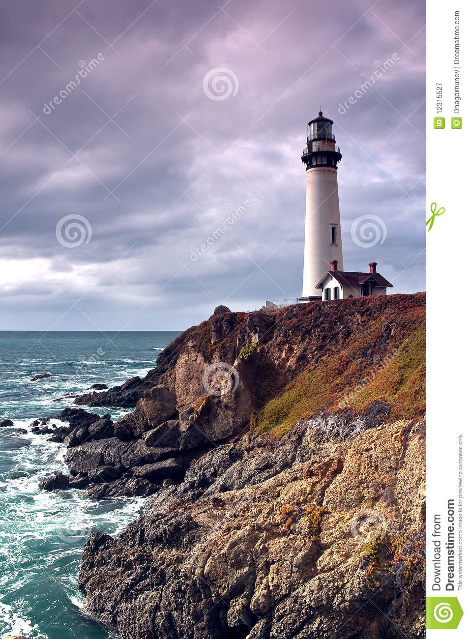 3d Scenery Wallpaper Lighthouse On A Cliff And Ocean Royalty Free Stock