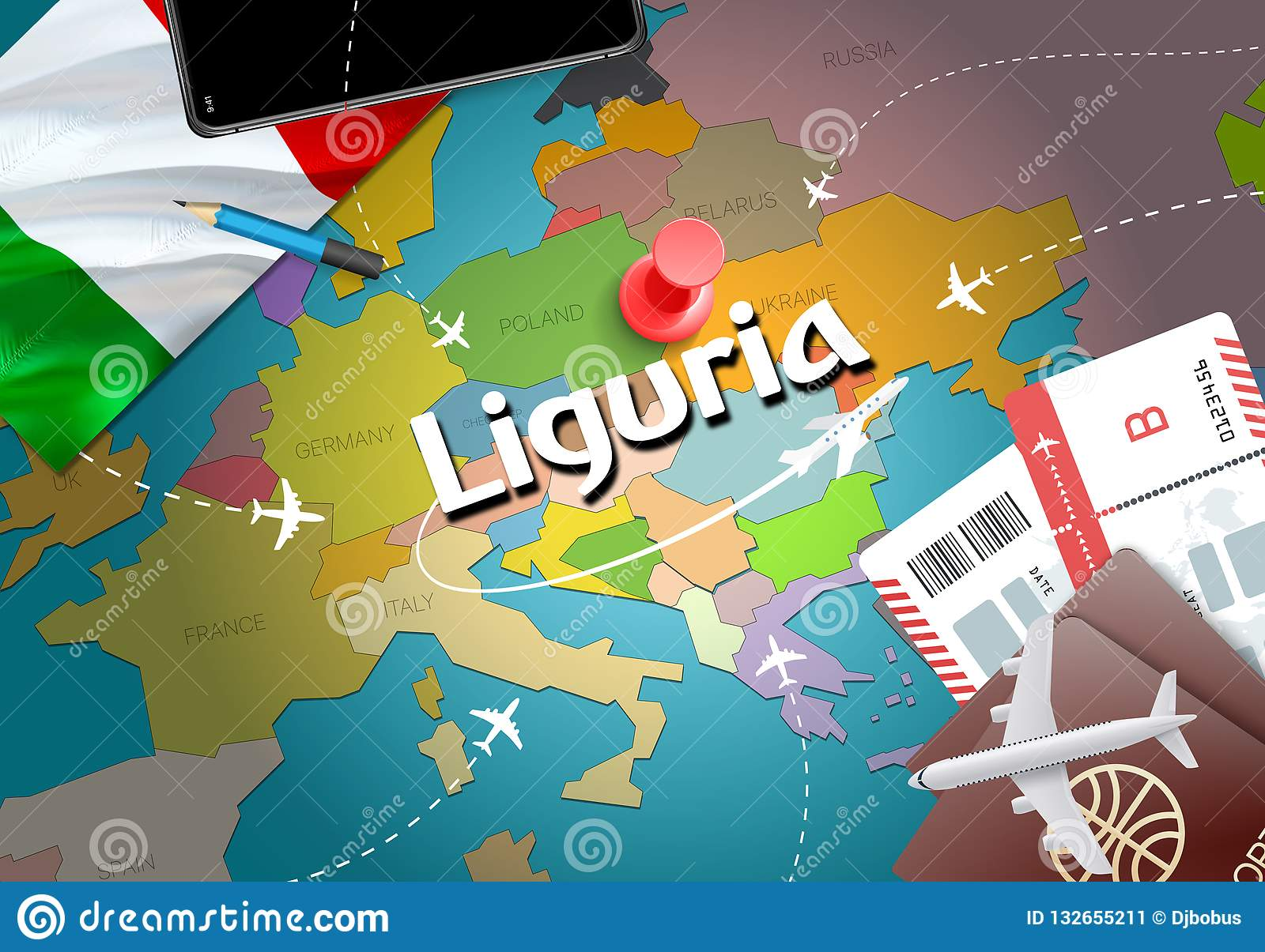 Tourism Destinations Liguria City Travel And Tourism Destination Concept Italy Flag