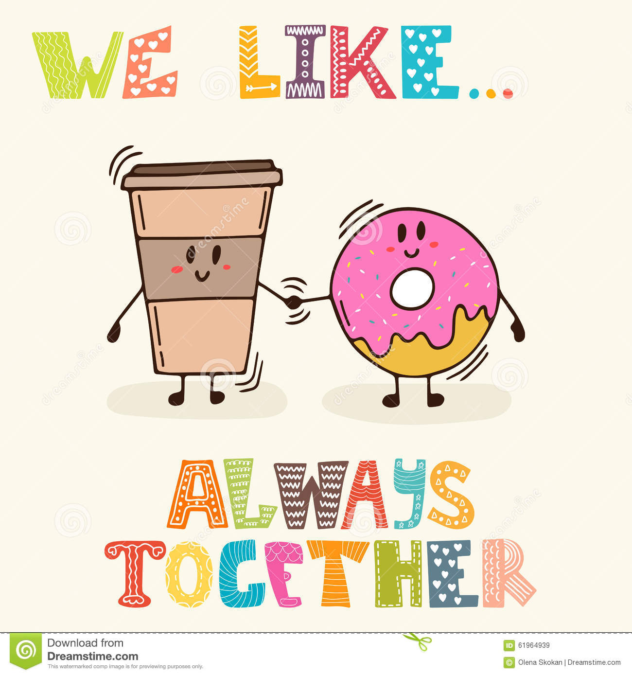 Cute Together Forever Wallpaper We Like Always Together Cute Characters Coffee And