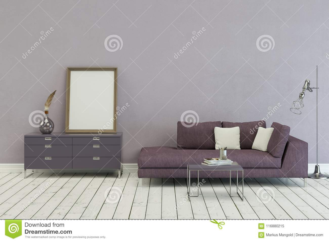 Couch Lila Lila Sofa In Modern Scandinavian Design Stock Illustration - Illustration Of Apartment, House: 116880215