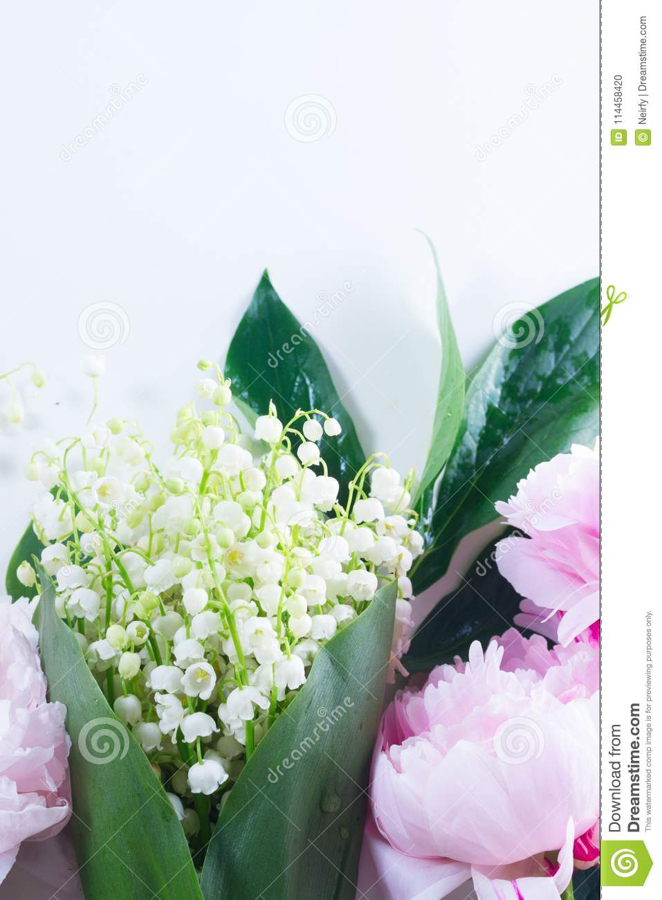 Pianese Flowers Lilac Pink Peonies And Lilly Of The Walley Stock Photo Image Of