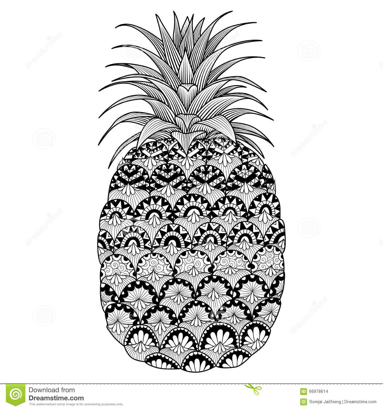 Cool T Shirt Schwarz S Line Art Design Of Pineapple For Coloring Book For Adult
