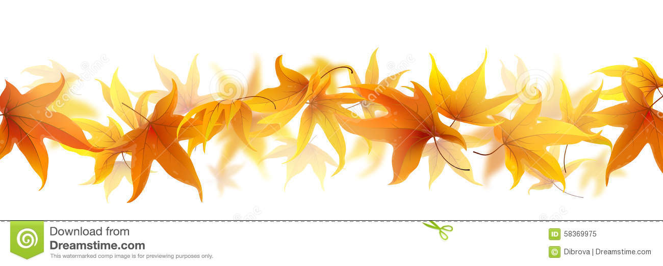 Autumn Leaf Fall Wallpaper Line Of Autumn Leaves Stock Vector Image 58369975