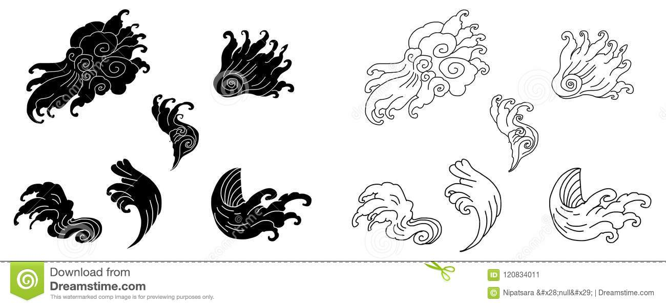 Line Thai Water Wave Design For TattooJapanese Wave For Tattoo