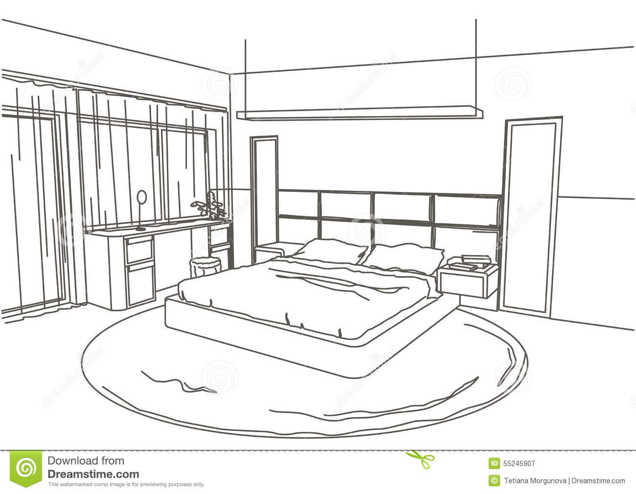 Chambre En 3d Dessin Linear Architectural Sketch Interior Modern Bedroom Stock