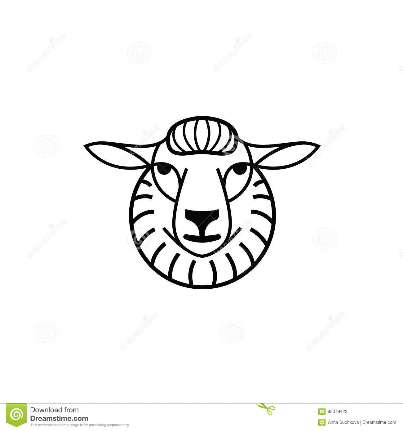 Disegno Di Pecora Linear Stylized Drawing Head Of Sheep Or Ram Stock