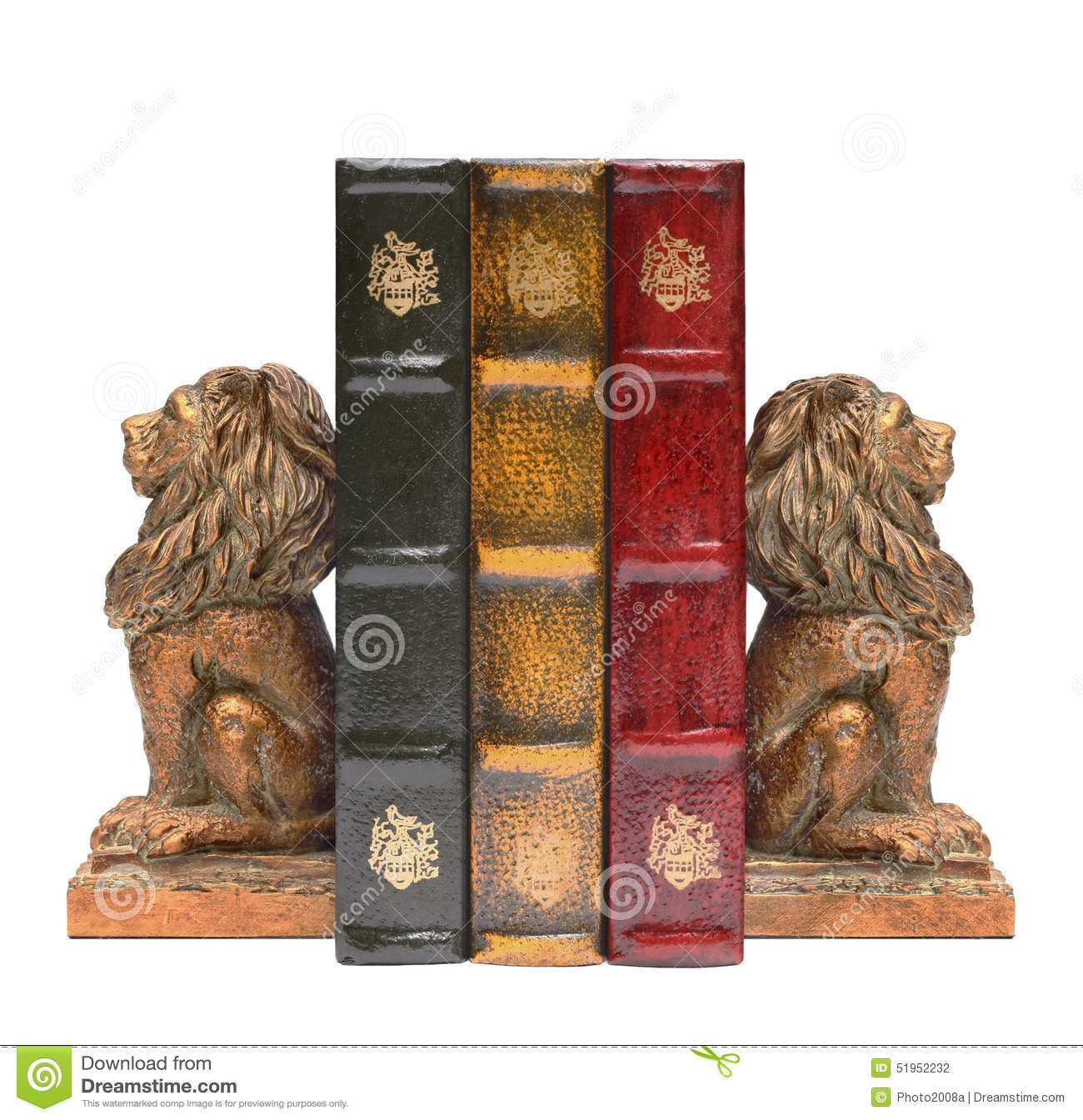 Bookends Book Lion Bookends And Antique Old Books Stock Photo Image