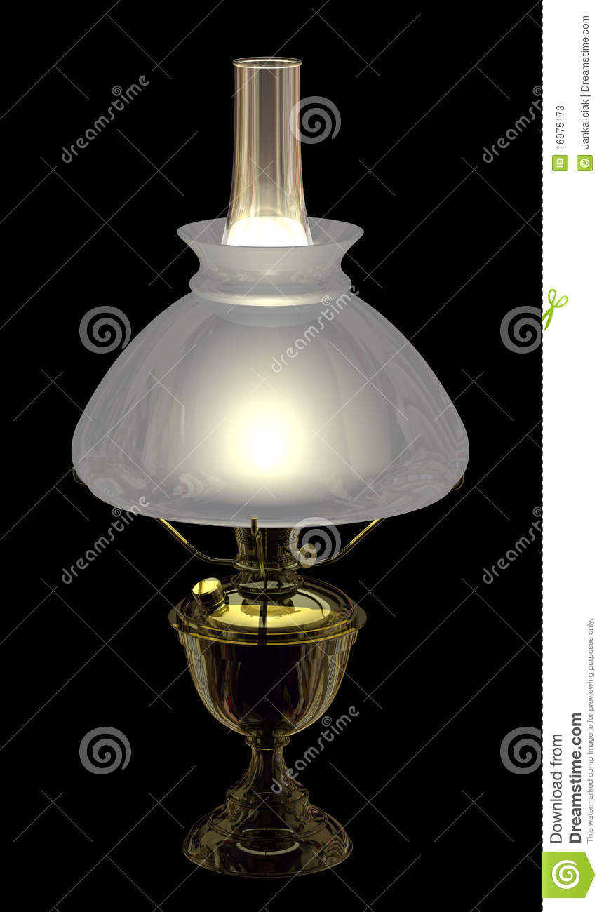 Glass Lamp Vector Lit Antique Kerosene Lamp With Shade Stock Photos - Image