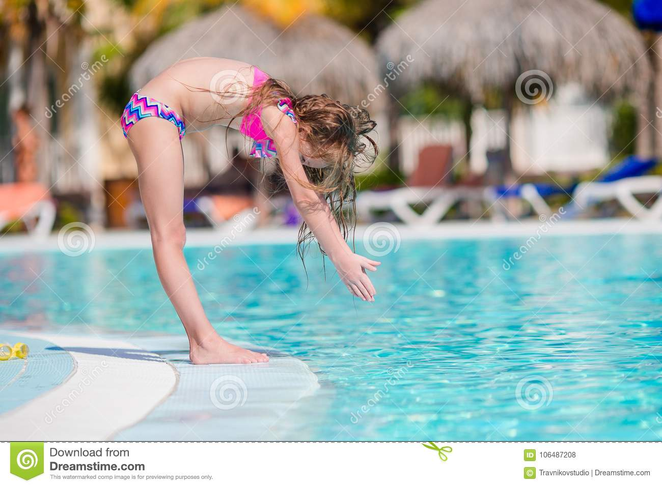 Care Möbelhaus Little Active Adorable Girl In Outdoor Swimming Pool Ready To Swim
