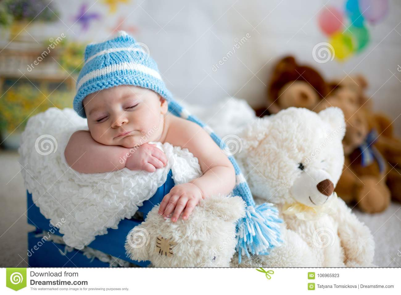 Baby Newborn Teddy Little Baby Boy With Knitted Hat Sleeping With Cute Teddy