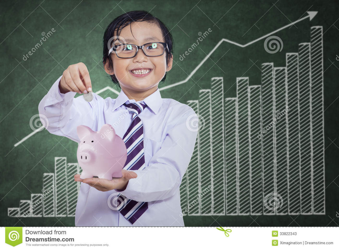 Piggy Banks For Little Boys Little Boy Puts The Coin Into The Piggy Bank Stock Photos